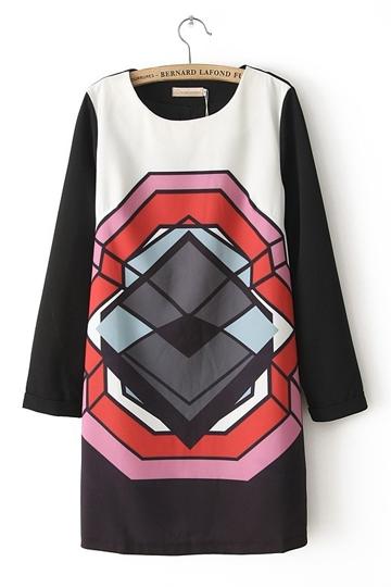 Vintage Graphic Diamond Check Dress [FXBI00365]- US$ 31.99 - PersunMall.com