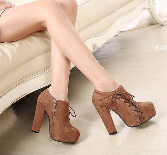 shoes women fashion heel chunky brown