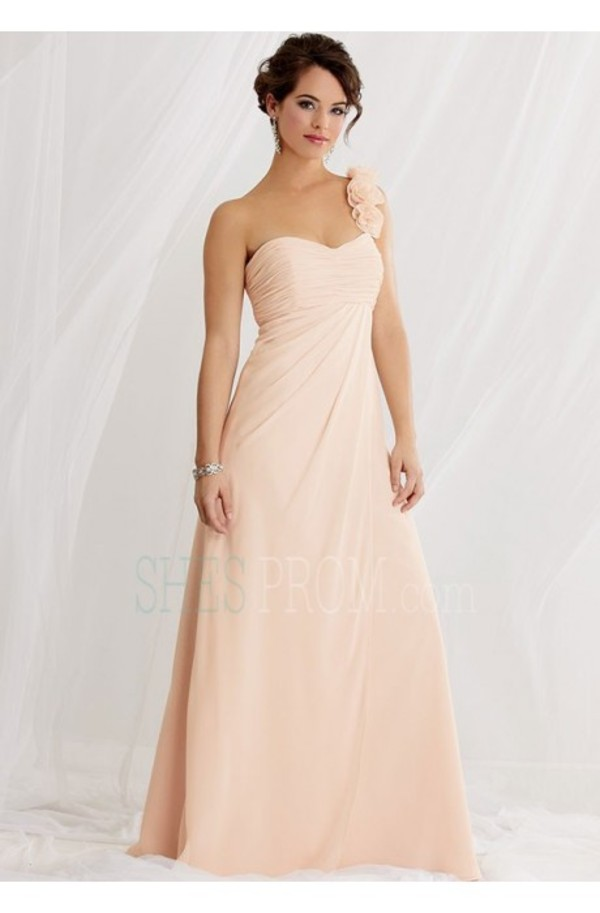 dress prom dress one-shoulder chiffon floor-length