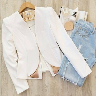 blouse white blouse gold white clothes weare fashion fashion week 2016 casual