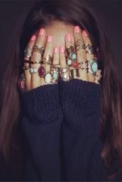jewels,ring,hippie,gypsy,rose gold,jewel-toned,red dress,dress,swimwear