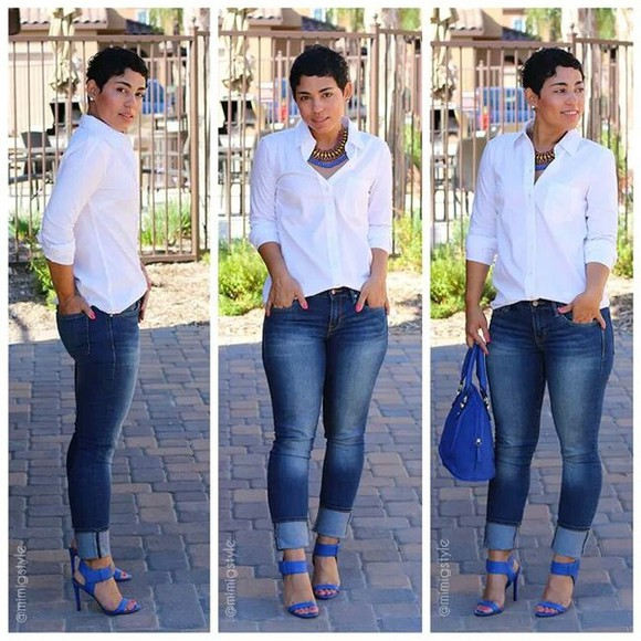 blouse jeans shoes