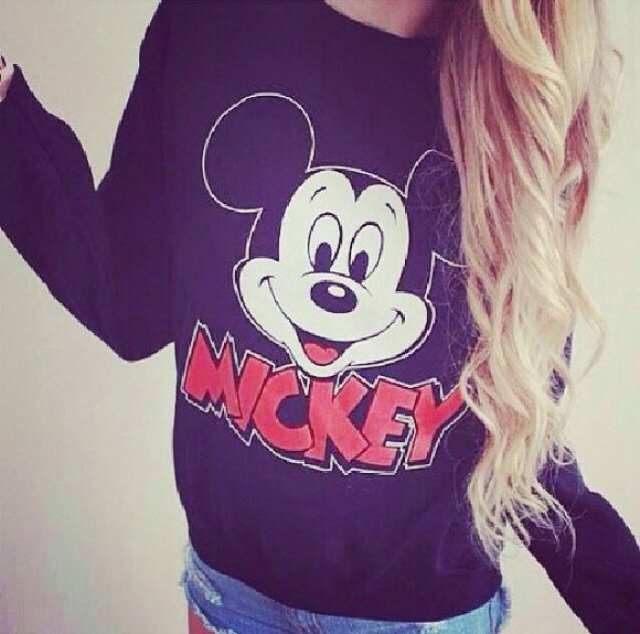 sweater black sweater , mickey mouse, fashion, style blonde hair