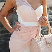 sweetheart neckline,one shoulder,draped dress,white dress,pink chiffon,dress,bag