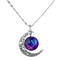Galaxy universe crescent moon glass cabochon pendant necklace women hot selling
