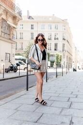 shoes,slide shoes,shorts,blazer,stripes,bag,sunglasses