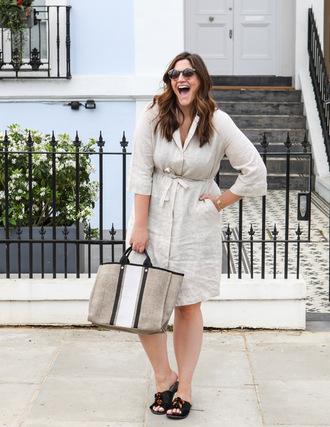 fashion foie gras blogger dress shirt bag tote bag spring outfits shirt dress slide shoes