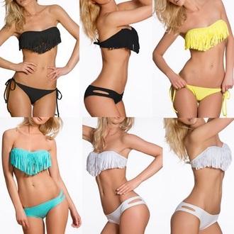 swimwear bikini swag hipster summer style hipster bikini fringe bikini
