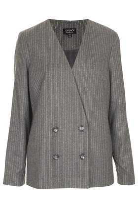 Collarless Pinstripe Jacket - Jackets & Coats  - Clothing  - Topshop