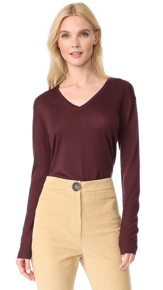 sweater v neck burgundy