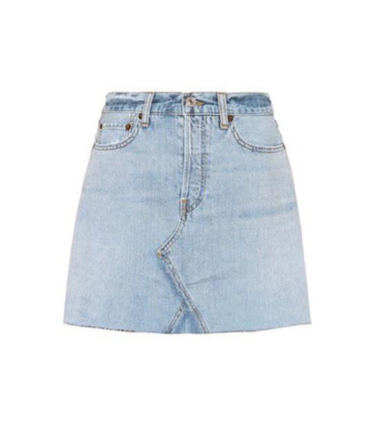 Re/Done skirt mini skirt denim mini high blue