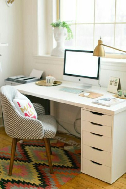 Home accessory white modern drawers desk tumblr home