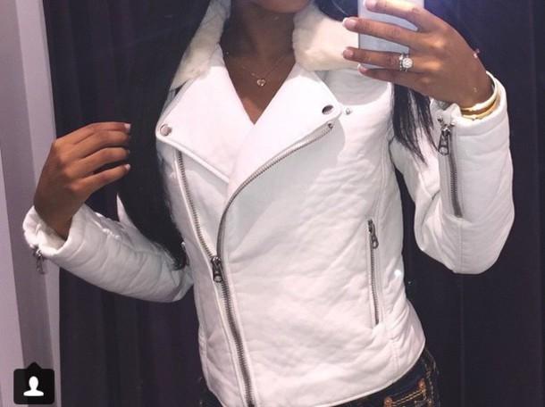 jacket leather jacket white fur dope zip fur collar white fur beautiful jacket