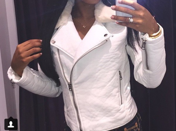 jacket leather jacket white fur dope zip fur collar white fur beautiful jacket