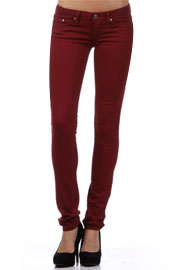 Stretch Sexy Colored Skinny Denim Jeans-Dark Red, Burgundy