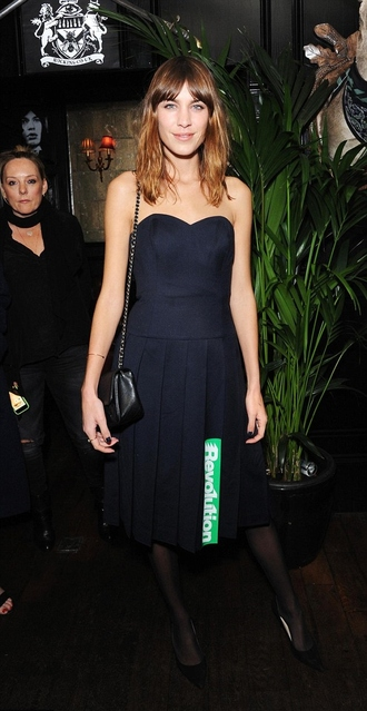 dress strapless navy alexa chung