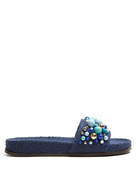 Aquazzura embellished blue shoes