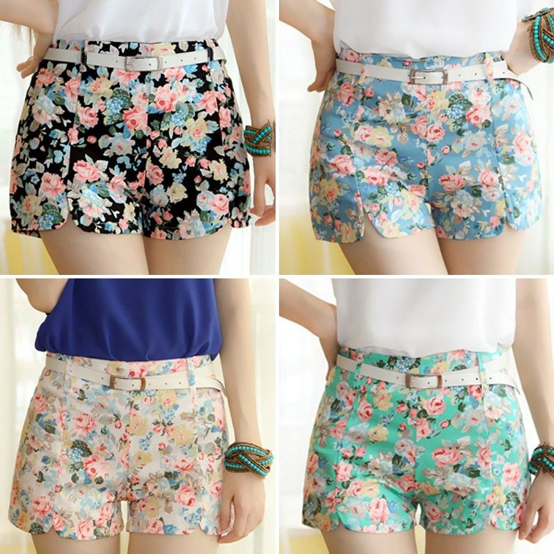 Summer Women Girls Vintage Floral Print Shorts High Waist Split Mini Short Hot | eBay