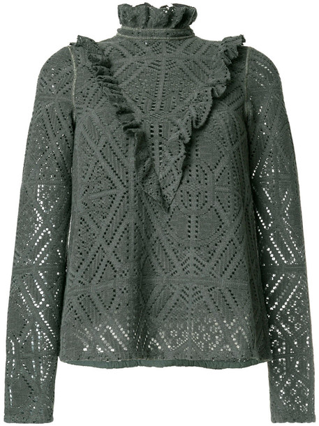 See by Chloe jumper romantic women cotton green sweater