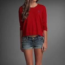 Abercrombie and fitch new women's cotton blend red cropped sweater sm m lg