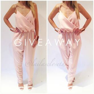 jumpsuit pink classy girl blond hair white high end top sandals