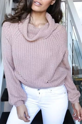 sweater casual fashion fall outfits style winter outfits warm cozy turtleneck long sleeves jumper pink knitwear knitted sweater top outerwear jeans solid color pullover clothes outfit girl beautiful zaful fall sweater autum