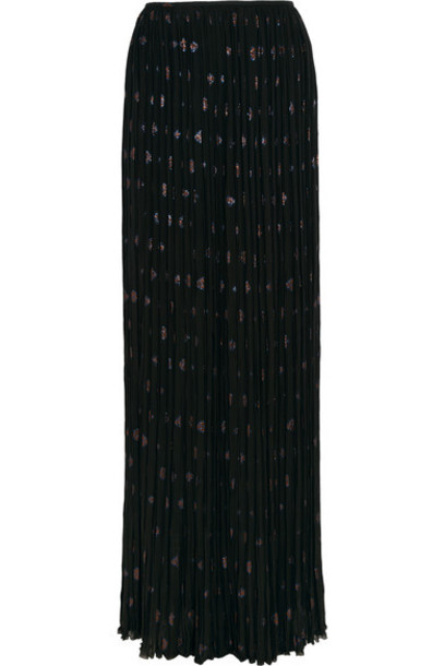 Lanvin - Pleated Silk-blend Chiffon And Fil Coupé Maxi Skirt - Black