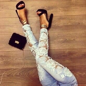 jeans lace blue jeans
