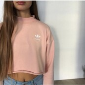 sweater,rose,adidas,cozy,white,style,adidas sweater,shirt,pink,cropped sweater,top,addias sweater,adidas shoes,trendy,topt,white top,pink top,yr,nike,pastel,nude,pretty,peach,jumper