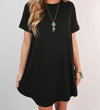 dress t-shirt dress black dress basic free vibrationz