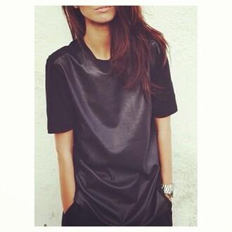 shirt leather dress blouse black maxi dress cuir top pleather t-shirt wet look oversized baggy t-shirt dress