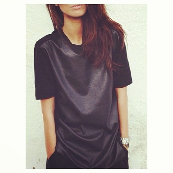 shirt leather dress blouse black maxi dress cuir top pleather t-shirt wet look oversized baggy t-shirt dress