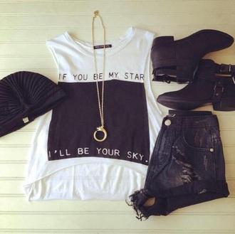 shirt black white stars sky love nice hipster skirt hat shoes
