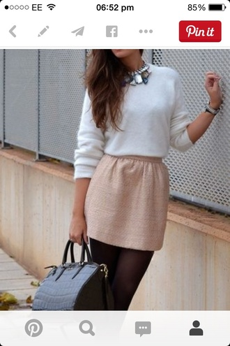skirt pink sweater blouse white pretty classy working cute fenimine girl brunette necklace bag tights