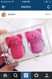 make-up,cats,lip balm,lip gloss,pink,cosmetics,kawaii