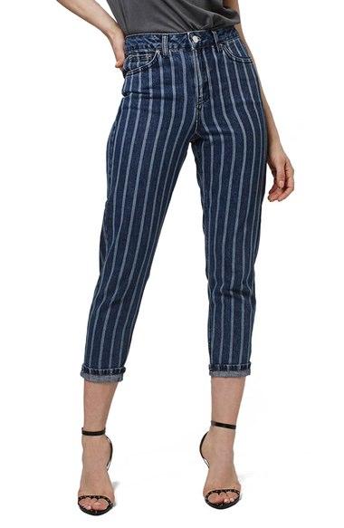 Topshop Laser Stripe Crop Jeans (Petite)   Nordstrom