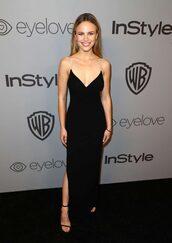 dress,Halston Sage,prom dress,black dress,maxi dress,plunge dress,slit dress,sandals,gown,Golden Globes 2018