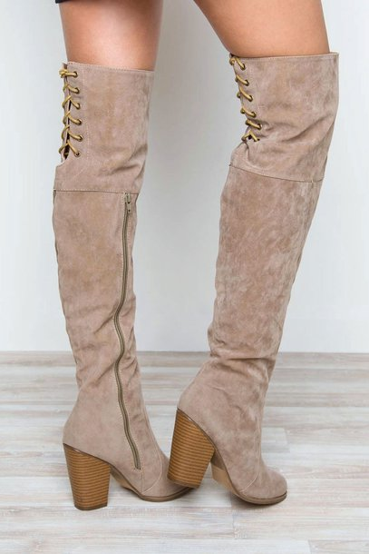 a168569732df shoes, taupe, chunky heel, faux suede, thigh high boots - Wheretoget