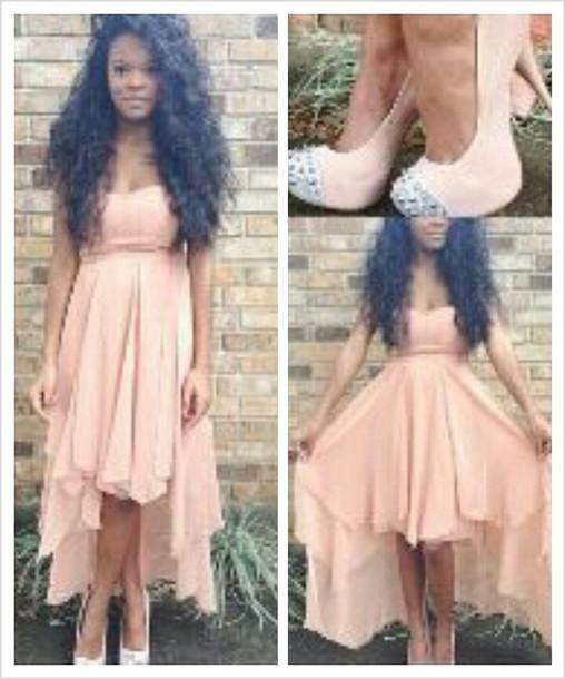 dress pink dress chiffon long dress cocktail dress