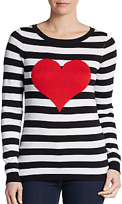 Saks fifth avenue red striped heart roundneck sweater