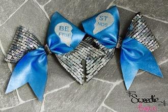 sparkles cute blue cheerleading hair bow bff
