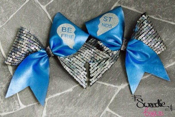 Sparkle cute blue cheerleading hair bow bff jewels wheretoget - Cute cheer bows ...