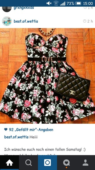 dress floral love chanel inspired