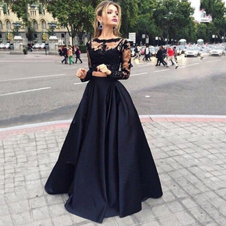 dress prom dress long prom dress black prom dress tulle skirt satin lace top two-piece elegant
