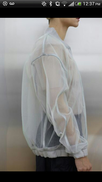 sweater mesh jacket white see through blouse transparent chiffon