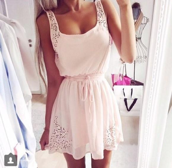 pink light pink summer dress cute dress lace dress tanned skin blonde spring sleeveless