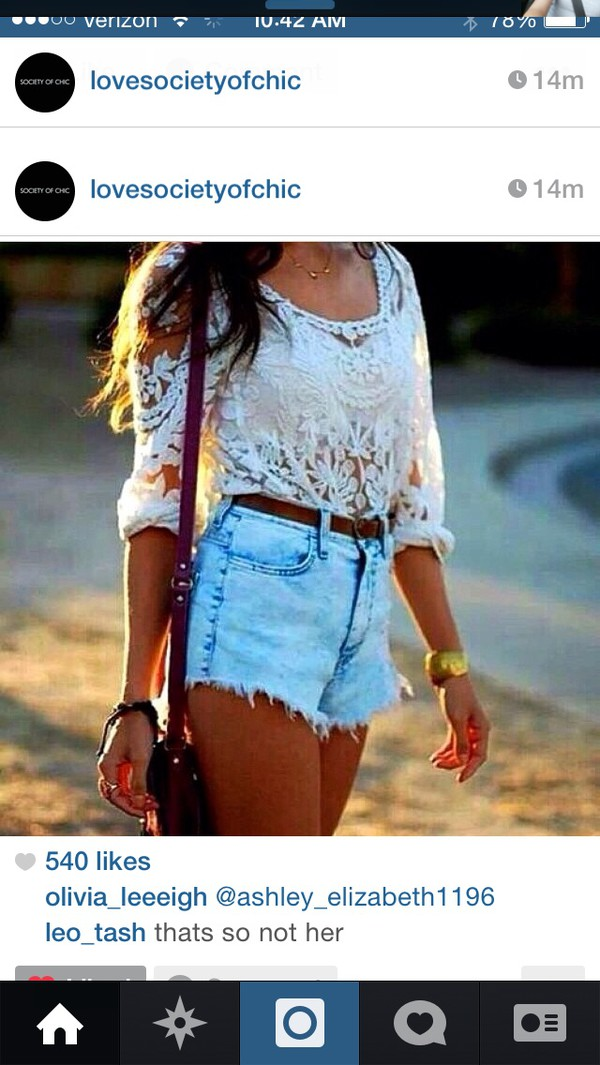 blouse denim shorts lace white cute see through high wasited shorts