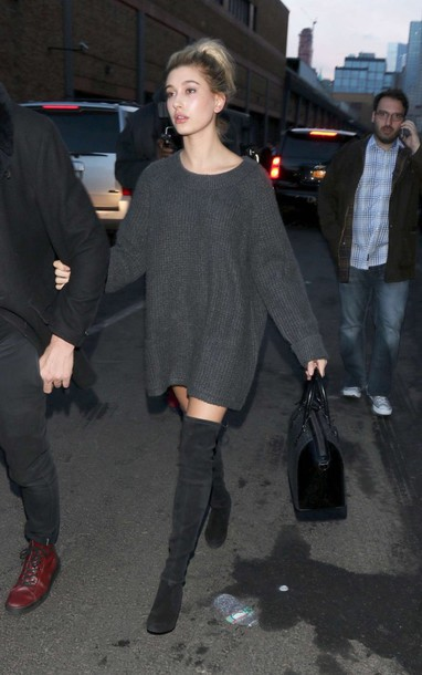 Oversized Sweater Sweater Dress Hailey Baldwin Knee High Boots