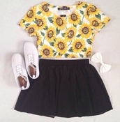 shirt,sunflower,yellow,cute,shoes,white,hair accessory,dress,blouse,crop tee,skater skirt,sunflower shirt,skirt,black skirt,hair bow,tank top,daisy,things,floral,studded,high waisted,flowers t shirt,flowers,shorts,t-shirt,crop tops,half shirt,top,tumblr,pretty,tumblr girl,plimsolls,sunflower crop top,black skater skirt,circle skirt,blumen,outfit,bow,printed t-shirt