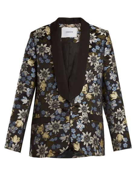 jacket jacquard floral black